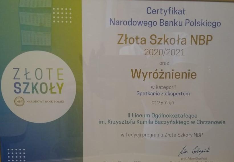 """Tytuł """"Złote Szkoły NBP"""" dla II LO"""